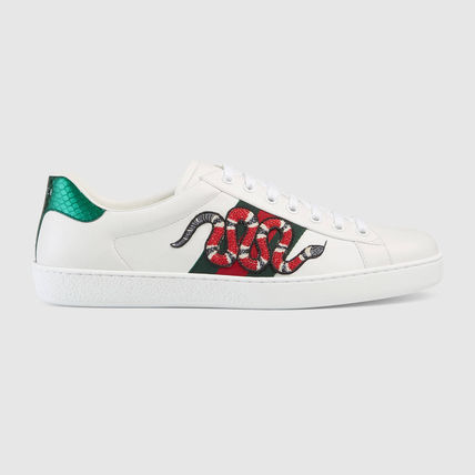292f1cdd96d GUCCI 2018 SS Stripes Other Animal Patterns Leather Sneakers (456230 ...