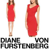 DIANE von FURSTENBERG Tight Sleeveless V-Neck Plain Medium Elegant Style Dresses
