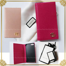 GUCCI GG Marmont Plain Leather Smart Phone Cases