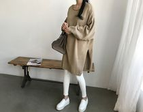 NANING9 Casual Style Nylon Boat Neck Long Sleeves Plain Long