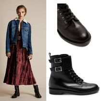 Gianvito Rossi Round Toe Lace-up Casual Style Plain Leather Lace-up Boots