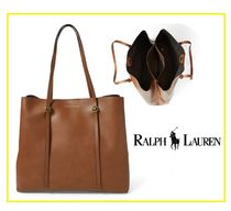 Ralph Lauren A4 Plain Leather Office Style Totes
