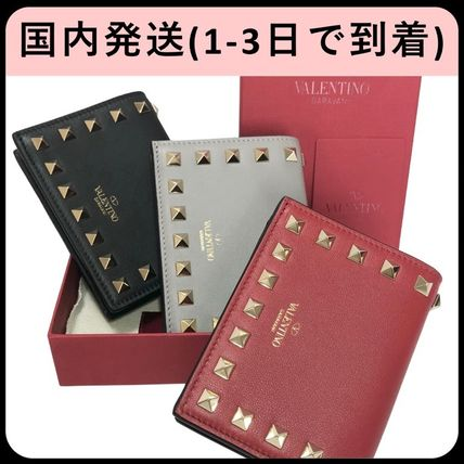 Unisex Calfskin Studded Plain Folding Wallets