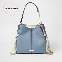 River Island Casual Style Faux Fur Tassel Studded Chain Plain Totes
