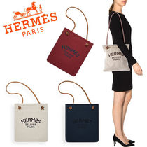 HERMES Aline Casual Style Unisex Cambus Plain Totes