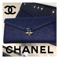 CHANEL Calfskin Plain Long Wallets