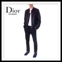 DIOR HOMME Short Plain Leather Biker Jackets