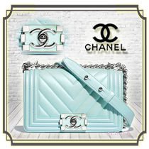 CHANEL BOY CHANEL Lambskin 2WAY Chain Plain Elegant Style Handbags