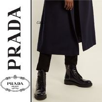 PRADA Platform Casual Style Plain Leather Ankle & Booties Boots