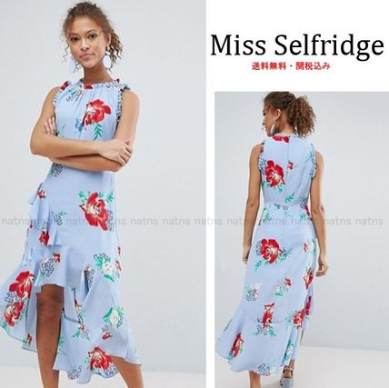 Flower Patterns Sleeveless Medium High-Neck Dresses