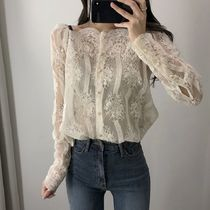 Flower Patterns Lace-up Street Style Long Sleeves Cotton