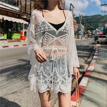 Flower Patterns Lace-up Dolman Sleeves Street Style V-Neck