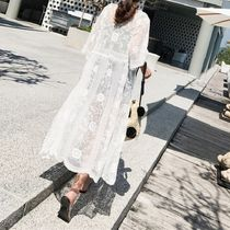 Flower Patterns Lace-up Street Style Cropped Cotton Long