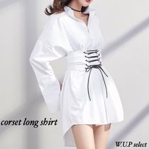 Casual Style Plain Cotton Long Oversized Puff Sleeves