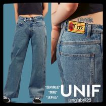 UNIF Clothing Casual Style Plain Cotton Long Wide & Flared Jeans