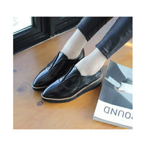 Platform Casual Style Enamel Plain Slip-On Shoes
