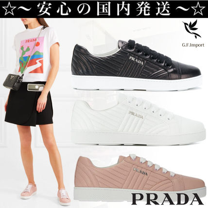 Platform Round Toe Lace-up Casual Style Plain Leather