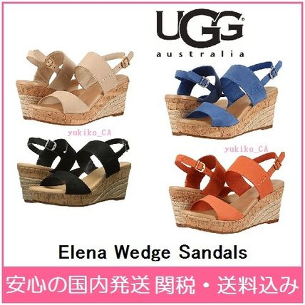 Open Toe Plain Elegant Style Platform & Wedge Sandals