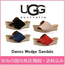 UGG Australia Open Toe Casual Style Plain Fringes Platform & Wedge Sandals