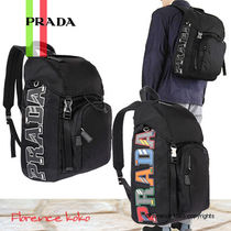 PRADA V135 Casual Style Unisex Nylon Blended Fabrics A4 Bi-color Plain