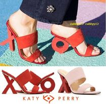 Katy Perry Open Toe Casual Style Suede Street Style Plain Chunky Heels
