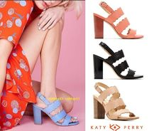 Katy Perry Open Toe Casual Style Street Style Plain Leather Block Heels
