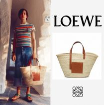 LOEWE Casual Style Blended Fabrics A4 Leather Straw Bags