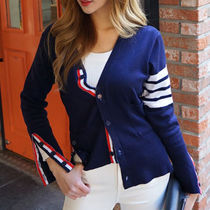 Stripes Casual Style Street Style V-Neck Long Sleeves Plain