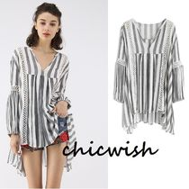Chicwish Stripes Blended Fabrics Puffed Sleeves V-Neck Cotton Medium