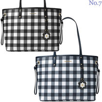 Michael Kors Gingham Faux Fur Street Style A4 Elegant Style Totes