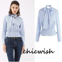 Chicwish Stripes Long Sleeves Cotton Medium Elegant Style