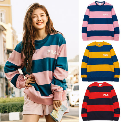 Stripes Unisex Street Style U-Neck Long Sleeves Cotton
