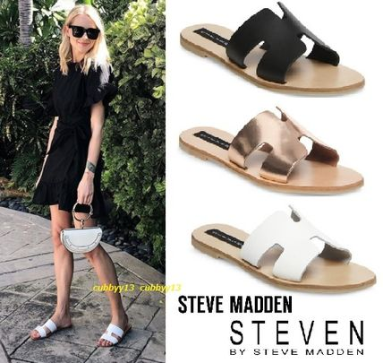 653b0abf675 ... Steve Madden More Sandals Open Toe Casual Style Street Style Plain  Leather Sandals ...