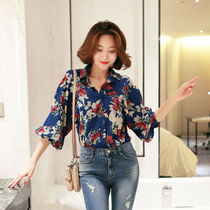 Flower Patterns Long Sleeves Medium Shirts & Blouses