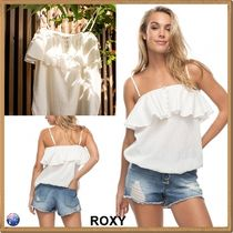 ROXY Casual Style Plain Cotton Bandeau & Off the Shoulder