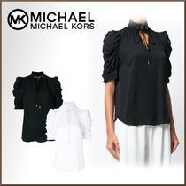 Michael Kors Silk Plain Medium Short Sleeves Elegant Style