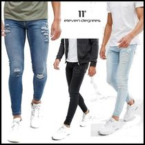 11 Degrees Plain Cotton Logo Skinny Jeans