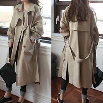 Stand Collar Coats Long Office Style Oversized Trench Coats