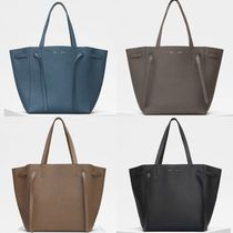 CELINE Cabas Phantom Unisex A4 Plain Leather Office Style Totes