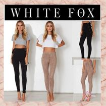 WHITE FOX Casual Style Suede Skinny Pants