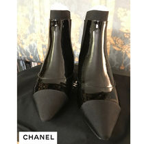 CHANEL Blended Fabrics Block Heels Ankle & Booties Boots