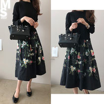 Flower Patterns U-Neck Long Sleeves Cotton Long Dresses