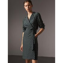 Burberry Wrap Dresses Short Dots Casual Style Silk Long Sleeves