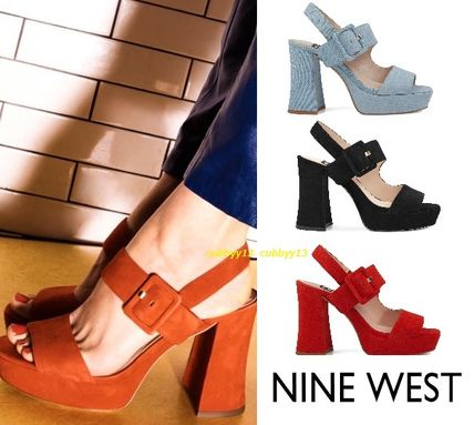 Open Toe Suede Street Style Plain Block Heels Heeled Sandals