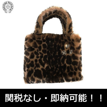 Leopard Patterns Casual Style Faux Fur Street Style Totes