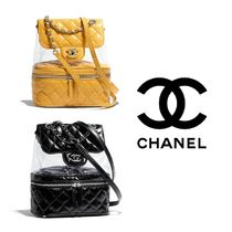 CHANEL MATELASSE Casual Style Calfskin Chain Crystal Clear Bags Backpacks
