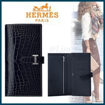 HERMES Bearn Blended Fabrics Other Animal Patterns Long Wallets