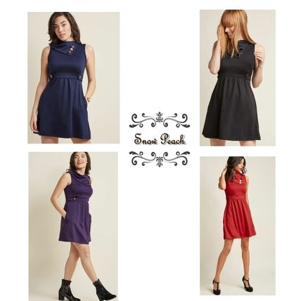A-line Sleeveless Plain Dresses