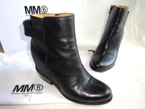 Maison Martin Margiela Plain Toe Plain Leather Block Heels Ankle & Booties Boots