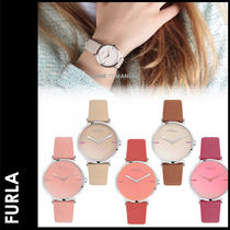 FURLA Leather Round Quartz Watches Elegant Style Analog Watches